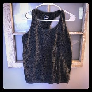 Old Navy Active Grey Floral Print Workout Tank